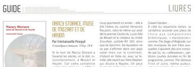 Opéra Magazine 138 avril 2018 critique de Michel Parouty biographie Nancy Storace