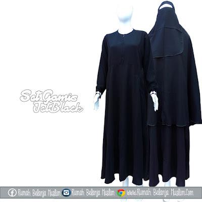 Set Gamis Jet Black Semi Umbrella