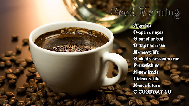 Abbreviation Of Good Morning With Coffee Cup and Beans HD Wallpaper