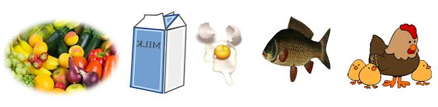 Vegetables, Milk, eggs, fish, Hen