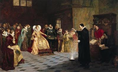 John Dee esegue un esperimento davanti alla regina Elisabetta I. Dipinto ad olio di Henry Gillard Glindoni. 1913