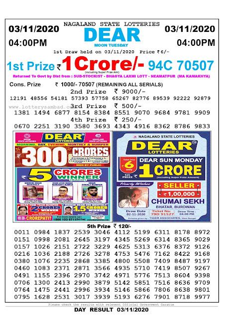 Lottery Sambad 03-11-2020 Today Results 4:00 pm, Nagaland State Lottery Sambad Today Result 4 pm, Sambad Lottery, Lottery Sambad Live Result Today