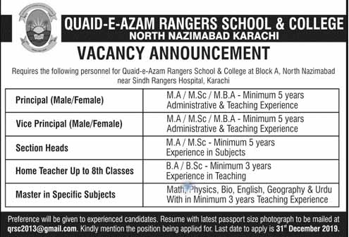 Quaid E Azam Rangers School And College Jobs
