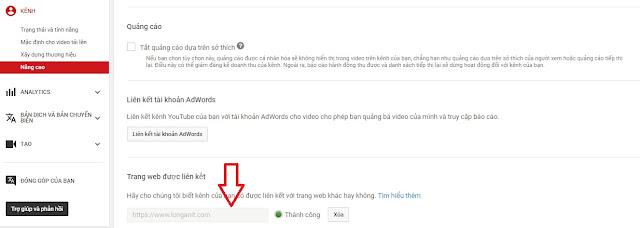 Truy cập vào tính năng nâng cao của Youtube