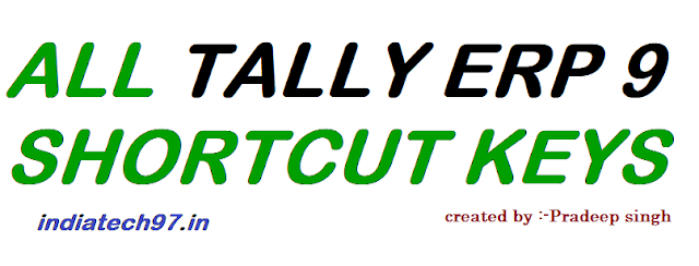 Tally ERP 9 Shortcut Keys - Important Tally Function keys