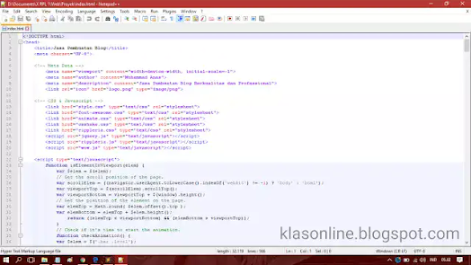 Contoh Kode HTML Menggunakan Notepad++