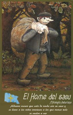 Postal mitología asturiana. Ed. Moro. El hombre del saco