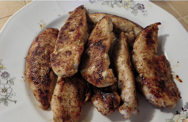 Beautifully browned and spiced chicken tenders