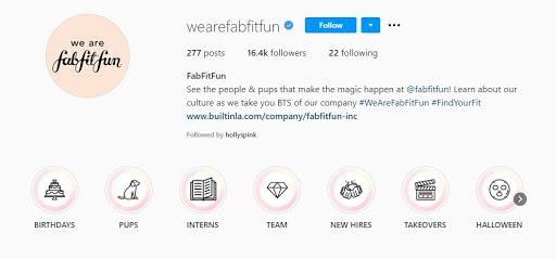 FabFitFun's HR Instagram account