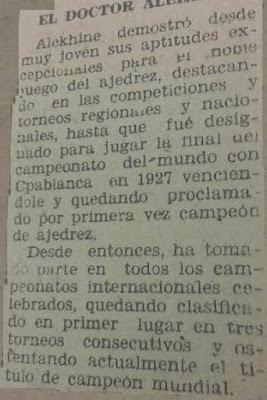 Alekhine en Lérida jugando al ajedrez en 1944, recorte de La Mañana