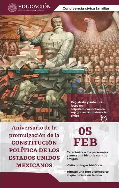 Ficha de Convivencia cívica familiar - Día de la Constitución Mexicana