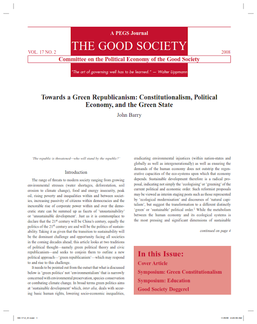 Towards a Green Republicanism: Constitutionalism, Political Economy, and the Green State