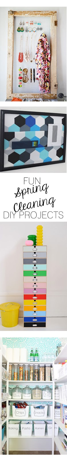 Are you wanting to get things more in order this spring? Check out this list of fun DIY projects that will help you keep things tidy while spring cleaning!
