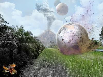 Gambar: Hasil edit (Planet lain mendarat dipermukaan bumi)