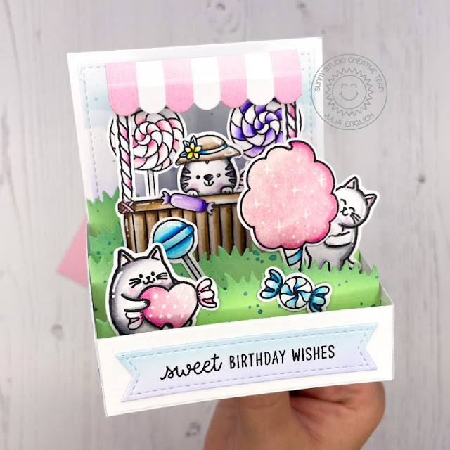 Sunny Studio Stamps: Candy Shoppe Beach Buddies Meow & Furever Tiki Time Stitched Rectangle Dies Birthday Card by Julia Englich