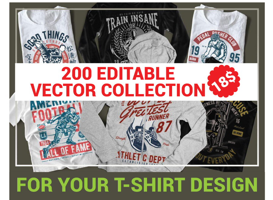 200 Editable vector collection for t shirts design