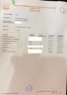 2018 O'level results of Gibson Liow from Yu Ying Sec Sch