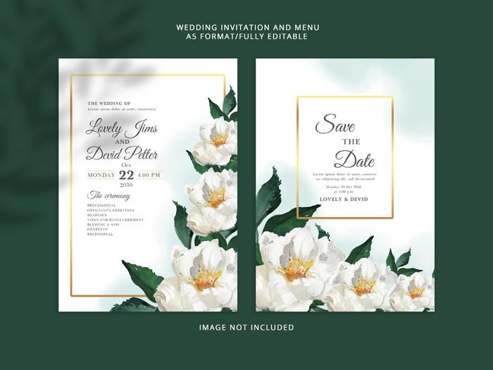 Elegant While Floral Wedding Invitation Card PSD Premium Template