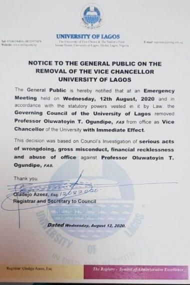UNILAG VC sacked + Notice of sack