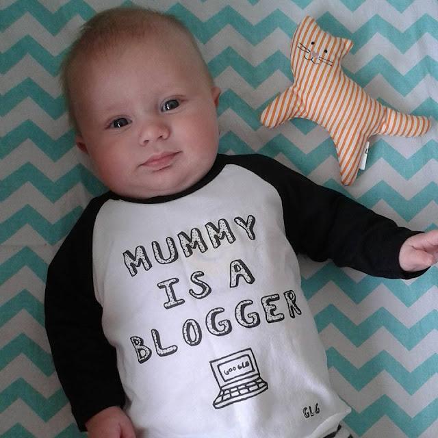 Barney 3 months old, chevron sheet, mummy is a blogger top, ikea cat rattle