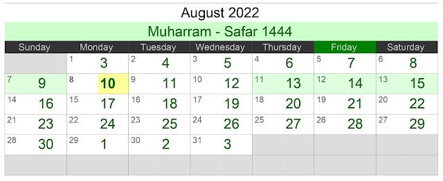 Kalender Hijriah Bulan Agustus 2022 Lengkap Jadwal Puasa