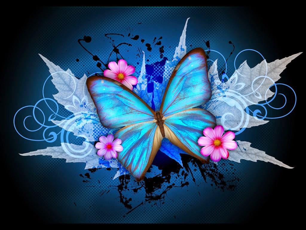 Free Colorful Flower Desktop Wallpaper: Colorful Butterfly Designs Background For Desktop Abstract