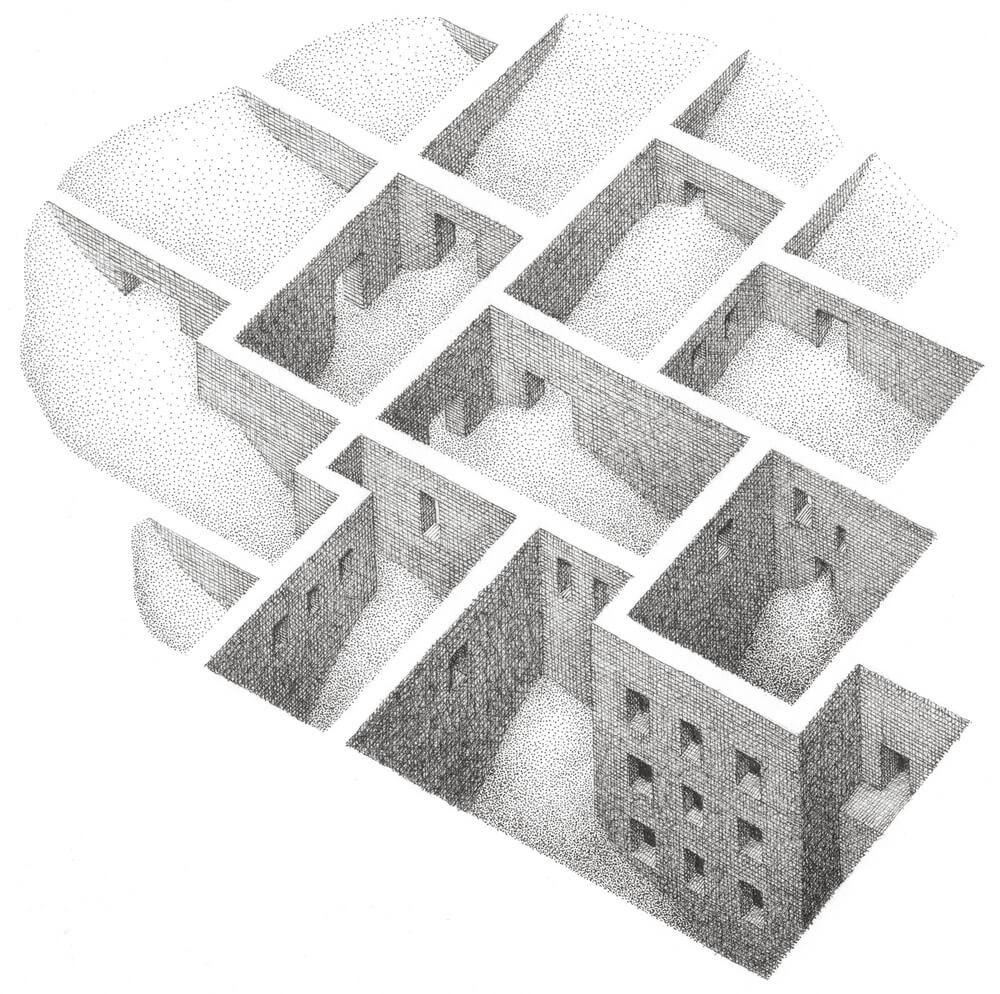 05-Each-Dream-Matt-Borrett-Hiding-in-a-Safe-Architectural-Labyrinth-Drawing-www-designstack-co
