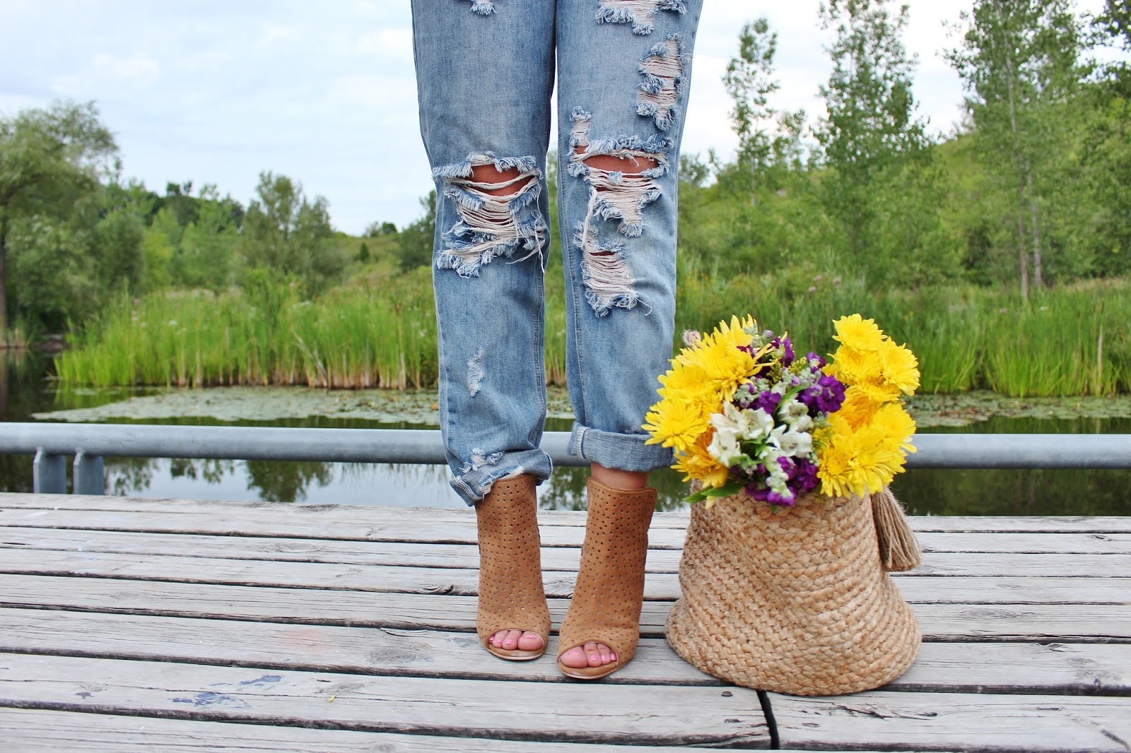 bijuleni-ripped one teaspoon jeans,booties and wicker basket
