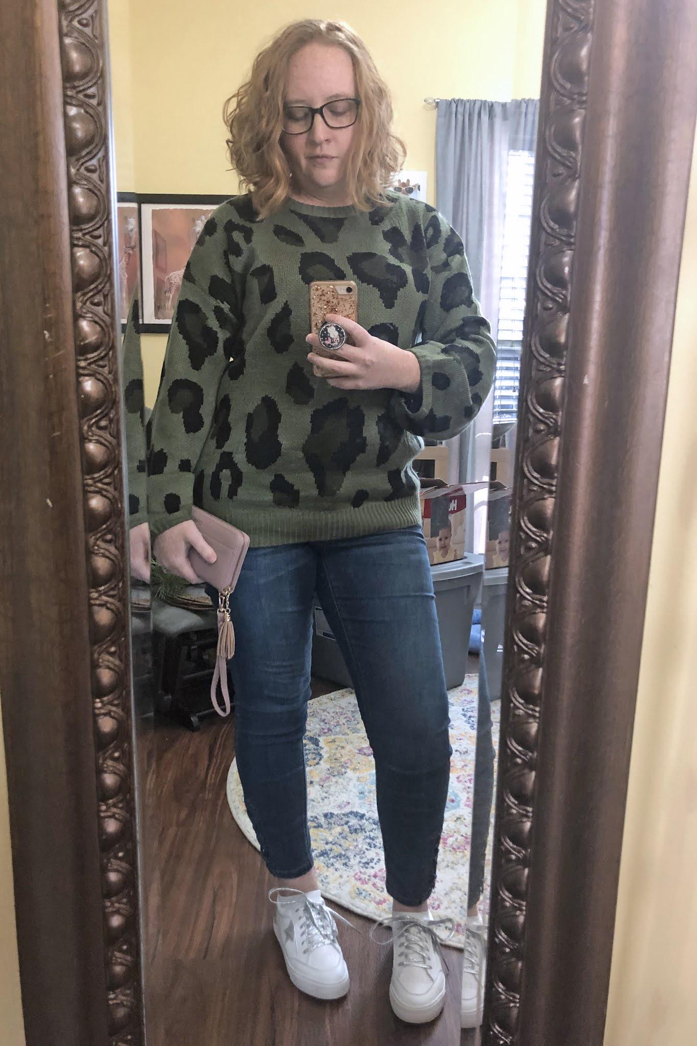 green leopard sweater