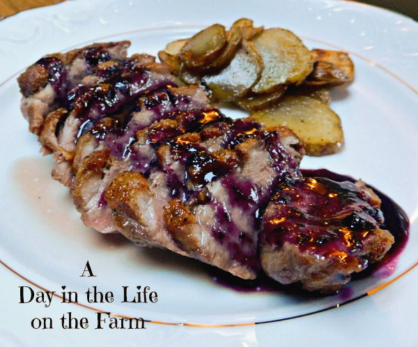 Pan Seared Duck Breast with Blueberry Caramel and Pan Fried Potatoes by A Day in the Life on the Farm