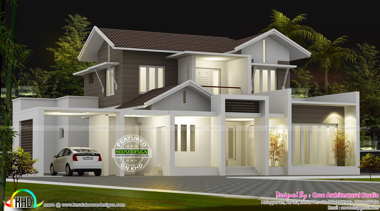 Beautiful 2100 sq ft modern sloping roof home kerala for Modern home plans 2500 sq ft