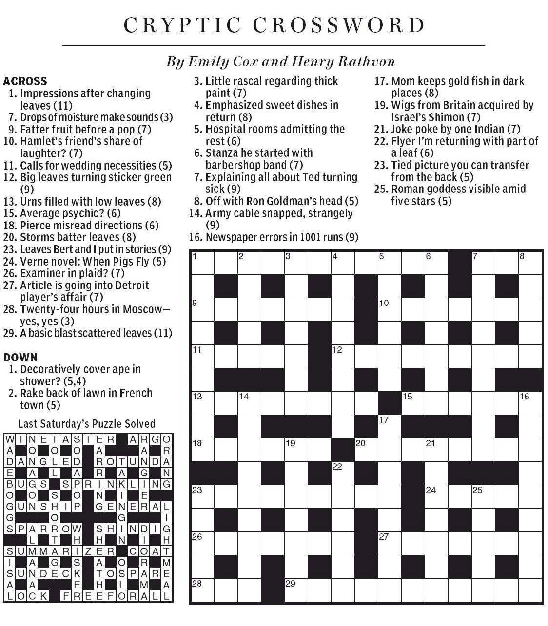 National Post Cryptic Crossword Forum Saturday October 27 2012