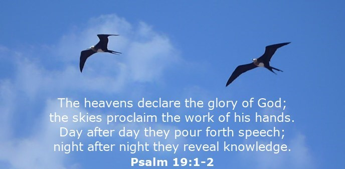 The heavens declare the glory of God; the skies proclaim the work of his hands. Day after day they pour forth speech; night after night they reveal knowledge.