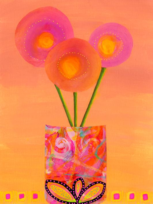 China Carnella - Improptu Floral Arrangement Collage Painting