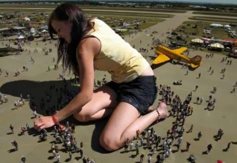 Giant Alien Female Invades Air Strip