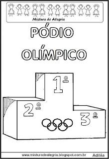 Desenho de pódio olímpico para colorir
