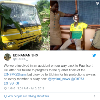 """NSMQ 2019 Contestant Edinaman SHS Involved In Accident After Defeat  Students and teachers of Edinaman Senior High School have been reported to have engaged in an accident while returning home to Central Regio, Elmina after been eliminated from the contest.  The sad incident is recorded on 3rd July 2019 on the Wwinneba-Cape Coast Highway.  The students together with their teachers were going back to their school after Keta SHTS defeated them at the one-eighth of the competition.  """"we were involved in an accident on our back to Paul Isert Hill after our failure to progress to the quarter-finals of the @NSMQGhana but glory be to Elohim for his protections always as every member is okay now."""""""
