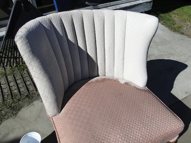 painting a fabric chair with Cottage Paint