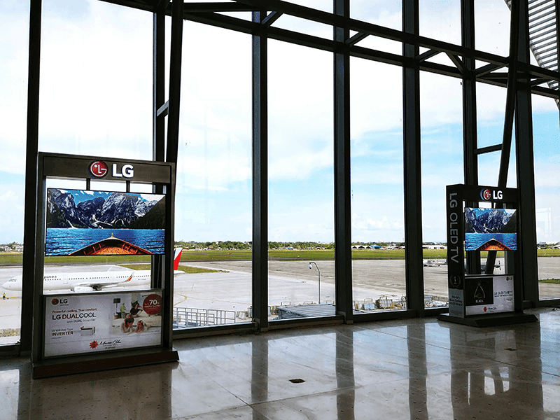 LG 55-inch C8 OLED TVs on display at the newly launched launched Mactan-Cebu International Airport
