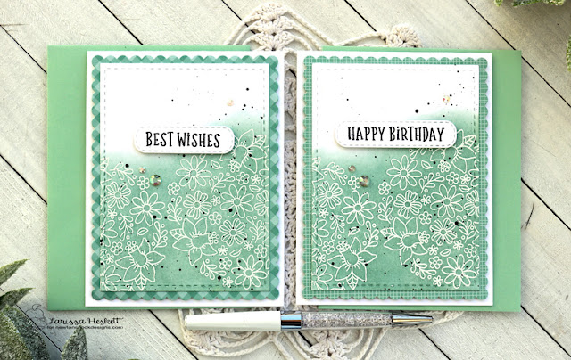 Floral Birthday Card by Larissa Heskett | Floral Roundabout Stamp Set, Birthday Roundabout Stamp Set, Banner Trio Die Set and Frames & Flags Die Set by Newton's Nook Designs