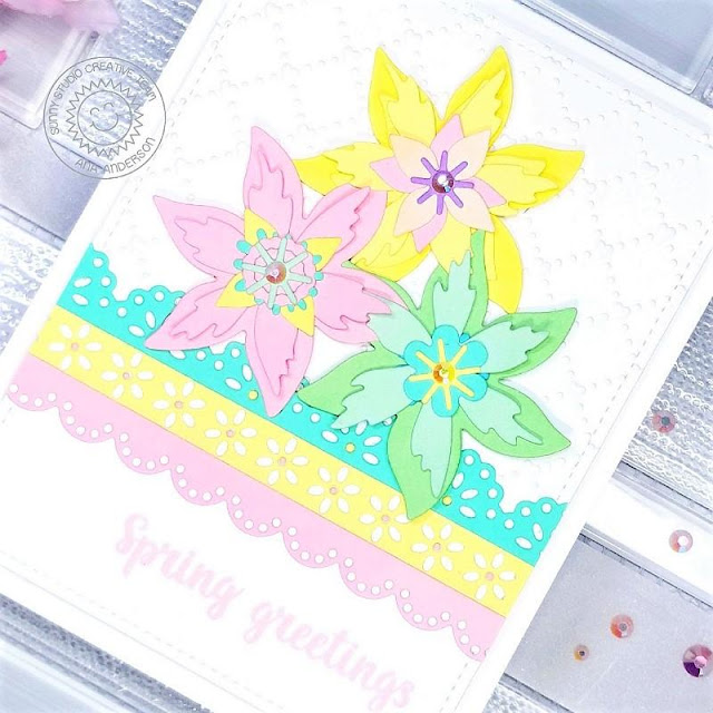 Sunny Studio Stamps: Eyelet Lace Border Dies Botanical Backdrop Dies Spring Themed Card by Ana Anderson
