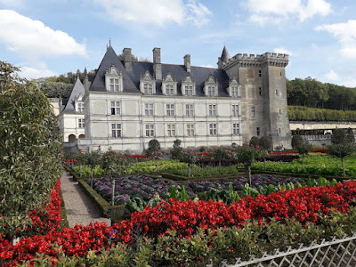 The gardens at chateau de Villandry with the colour red predominant