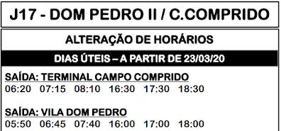 Horário de ônibus J17 DOM PEDRO II / CAMPO COMPRIDO 2020 | Campo Largo PR