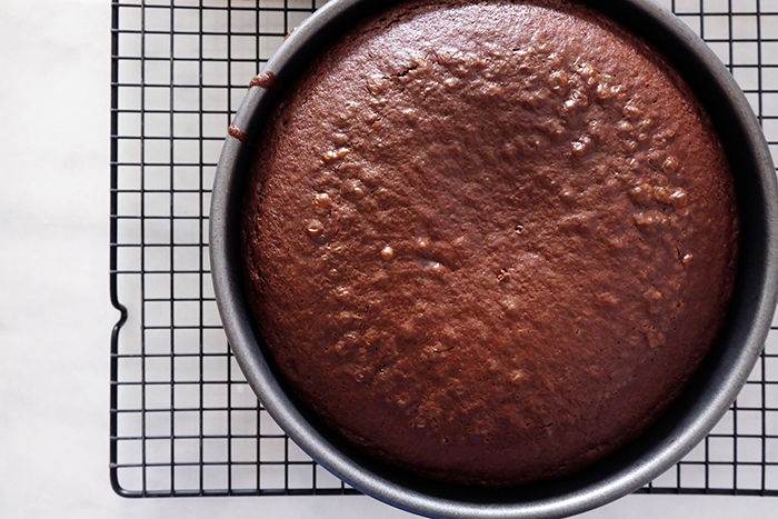 baked Mexican chocolate cake layer