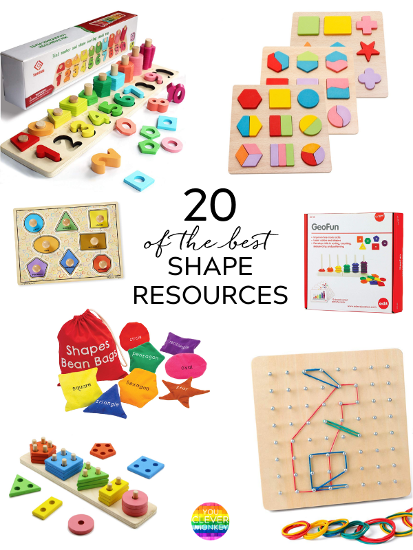 20 OF THE BEST RESOURCES FOR TEACHING SHAPES - A must have collection of toys, puzzles, blocks, manipulatives and building materials for teaching preschool, kindergarten and first grade children about 2D shapes and their attributes #kindergartenmathactivities #2Dshapes #preschoolmath #mathcenters #firstgrademath