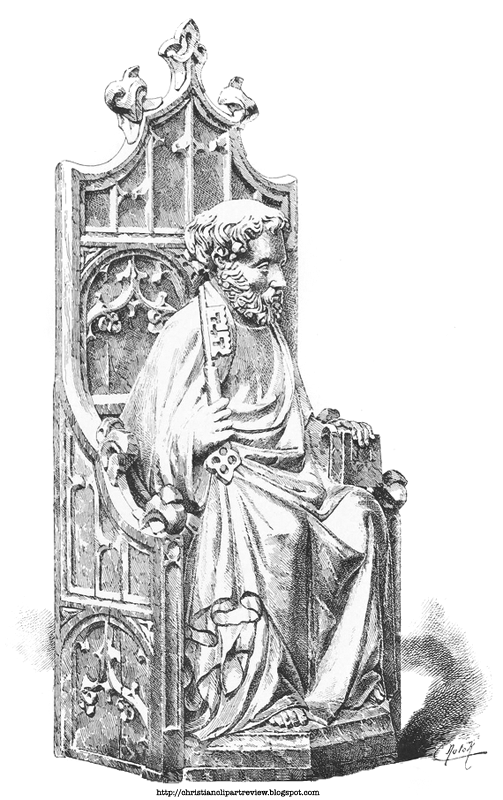 Description Of The Illustration Shaded Drawing A Sculpure Apostle Disciple Saint Peter Keys Key To Kingdom Christ Throne