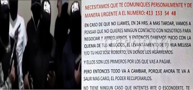 """El CJNG sí extorsiona a Comerciantes y  Empresarios """"te tenemos ubicado a ti y a toda tu familia, no vayas con la autoridad ellos nos avisaran a nosotros"""" dice comunicado"""