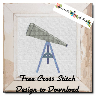 Telescope Cross Stitch Silhouette with Repeating Geometric Cross Stitch Pattern Filling
