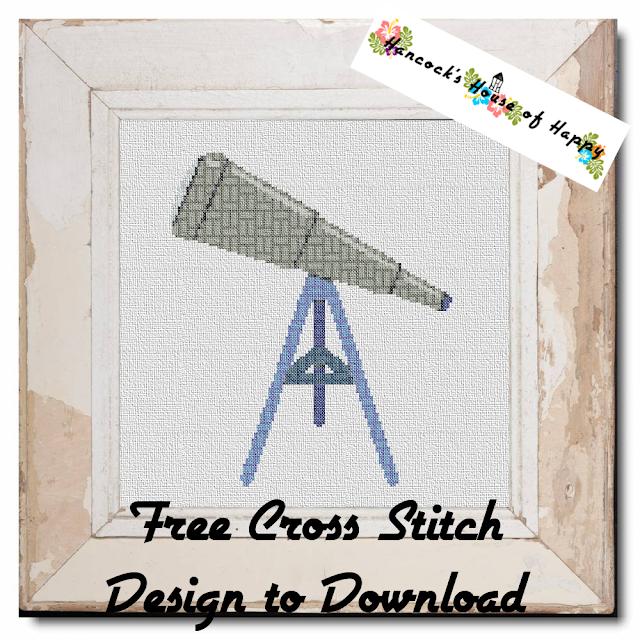Free Telescope Cross Stitch Pattern. Geometric Cross Stitch Pattern Filled Telescope.