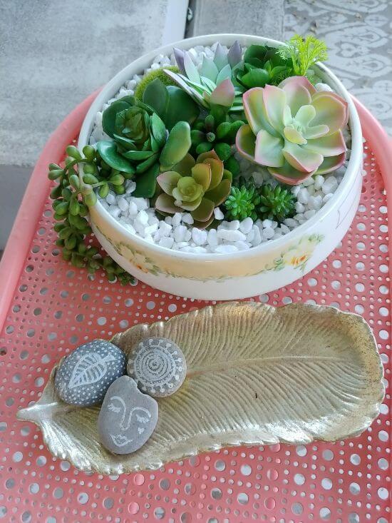 Vintage Dish Succulent Planter - 7 Days of Thrift Shop Flips - Day Four